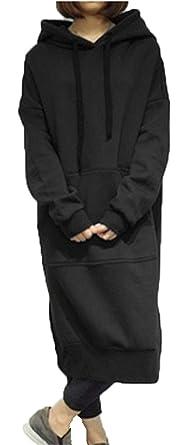 1345f4c88e1 HOHOISHIRT Women New Spring Autumn Casual Loose Long Hoodies Sweatshirt  Oversize Full Sleeve Fleece Split Hooded