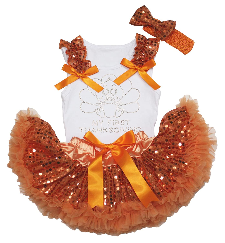 Thanksgiving Dress Rhinestone Turkey White Shirt Orange Sequin Baby Skirt 3-12m NS180