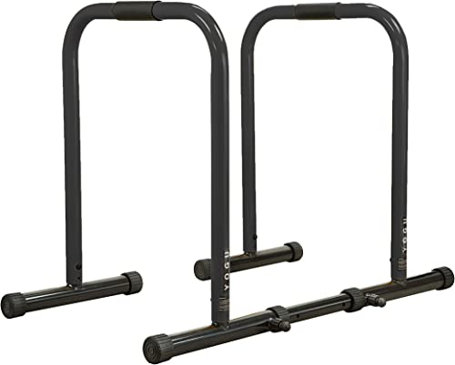 YOGU Heavy Duty Fitness Dip Station- Strength Training Stand with Adjustable Length, Hand Foam Grips, and Safety Connector Bars-Strongest On The Market