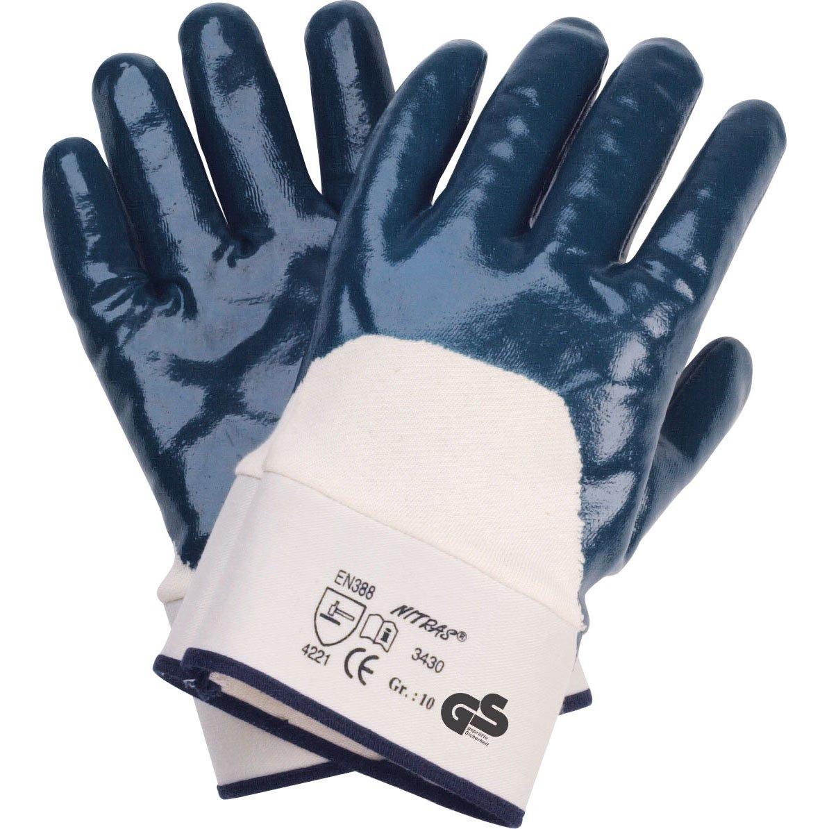 72 Paar NITRAS 3430 Nitril Handschuh blau Stulpe, Gr.: 10