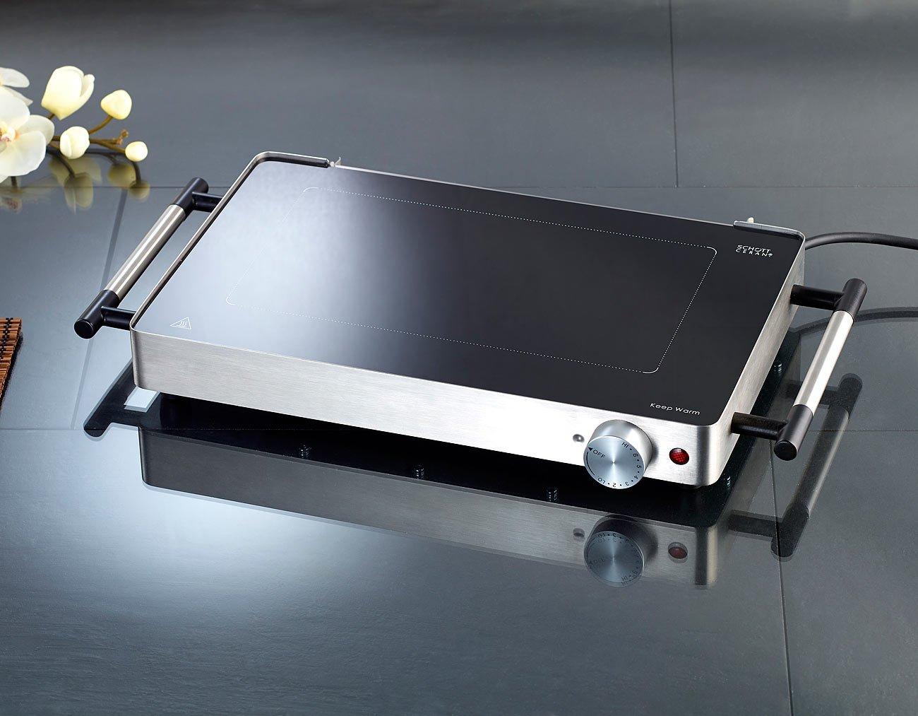 Low-Fat-Funktion bis 260 /°C 800 Watt Ceran Grill Rosenstein /& S/öhne Glasgrill mit Ceranfeld: Glas-Tischgrill mit Ceranfeld