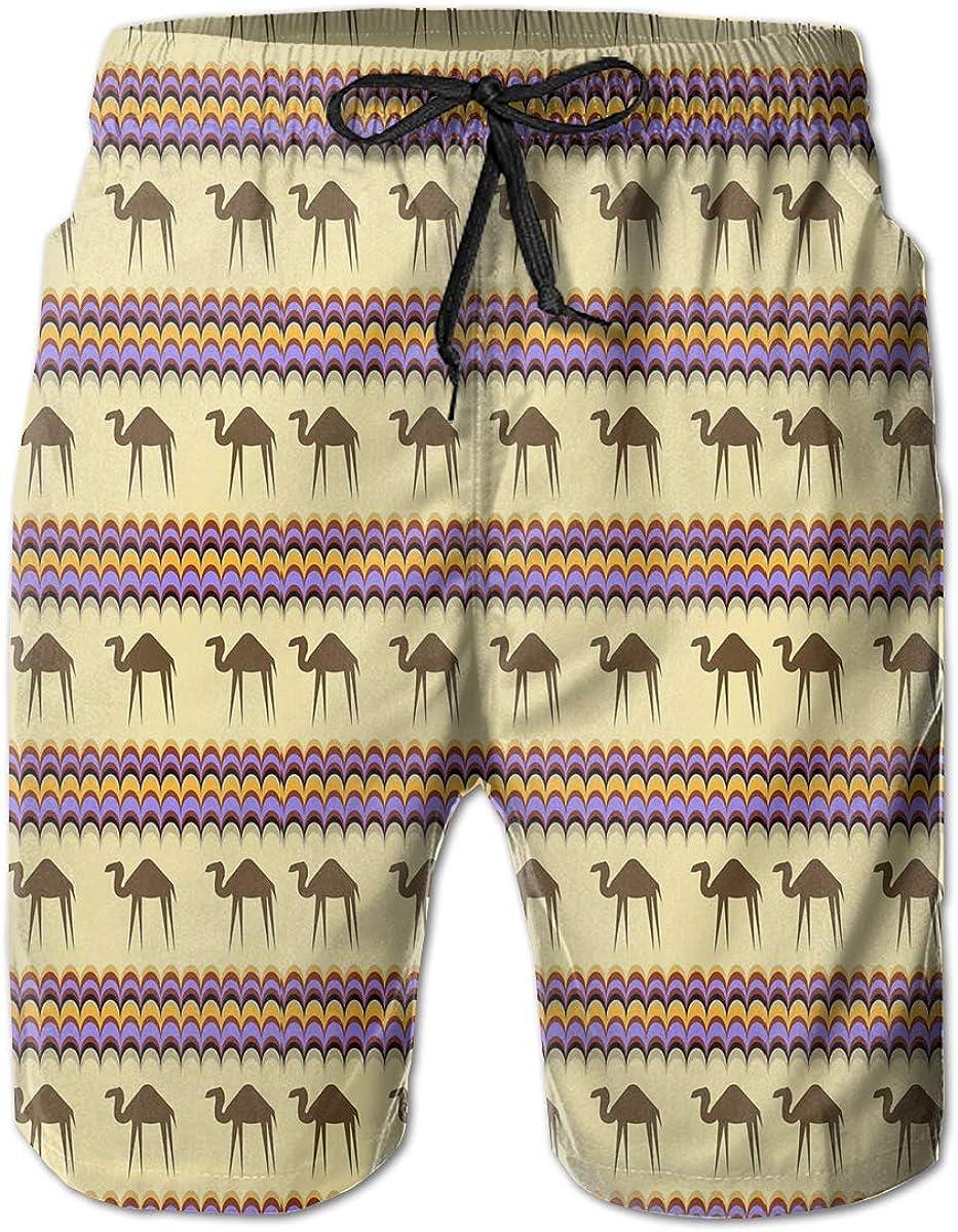 AMRANDOM Boys Board Shorts Desert Camel Quick Dry Swim Surf Trunks