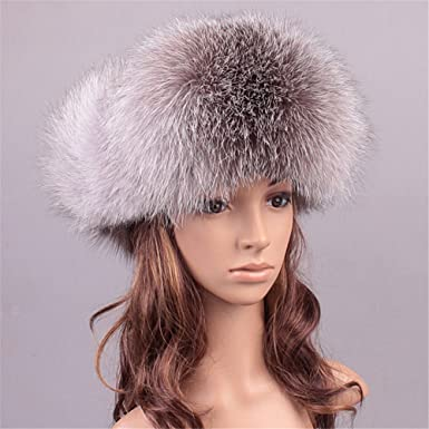 a9aae185b Roniky Women's Real Fox Fur Russian Trooper Ushanka Hat Winter Fur Hat with  Ear Flaps