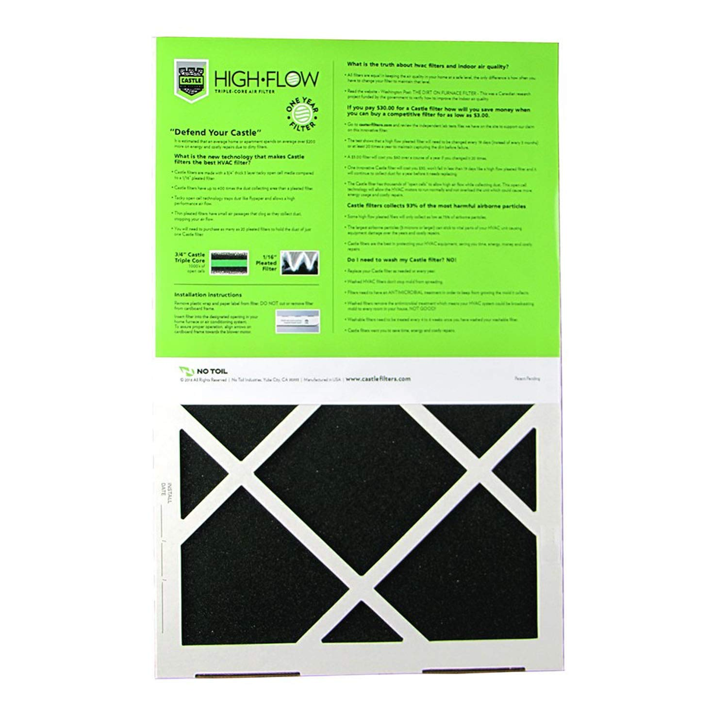MERV 6 20 x 20 x 1 One-Year HVAC Furnace Filter No Toil 2020M6 CASTLE