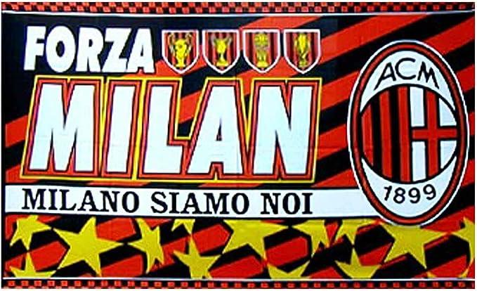 Bandera Gigante AC Milan (Serie A) con Escudo de fútbol (145 cm x 95 cm y 100% poliéster): Amazon.es: Deportes y aire libre