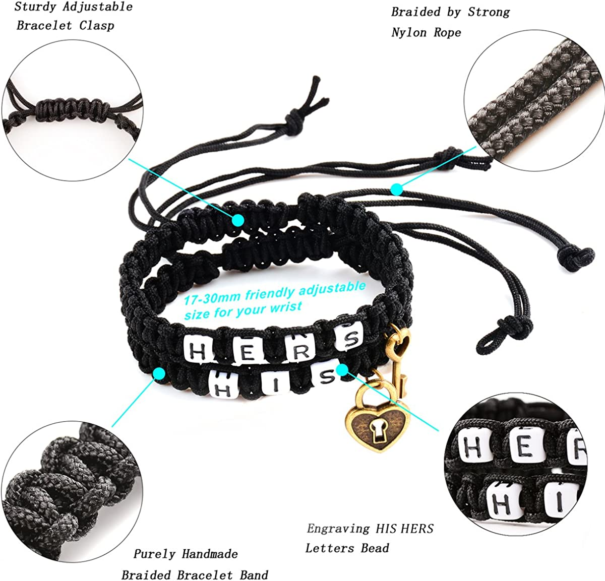 Couple Bracelets-Morenitor Valentines Day Gifts Handmade Key and Lock Braided Bracelet His and Hers Jewelry Set for Lover