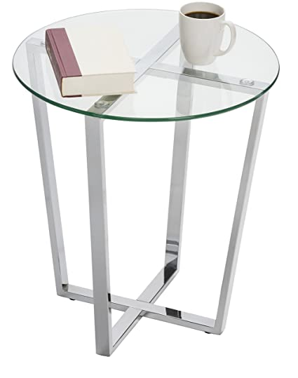 Mango Steam Metro Glass End Table   Clear Top/Chrome Base