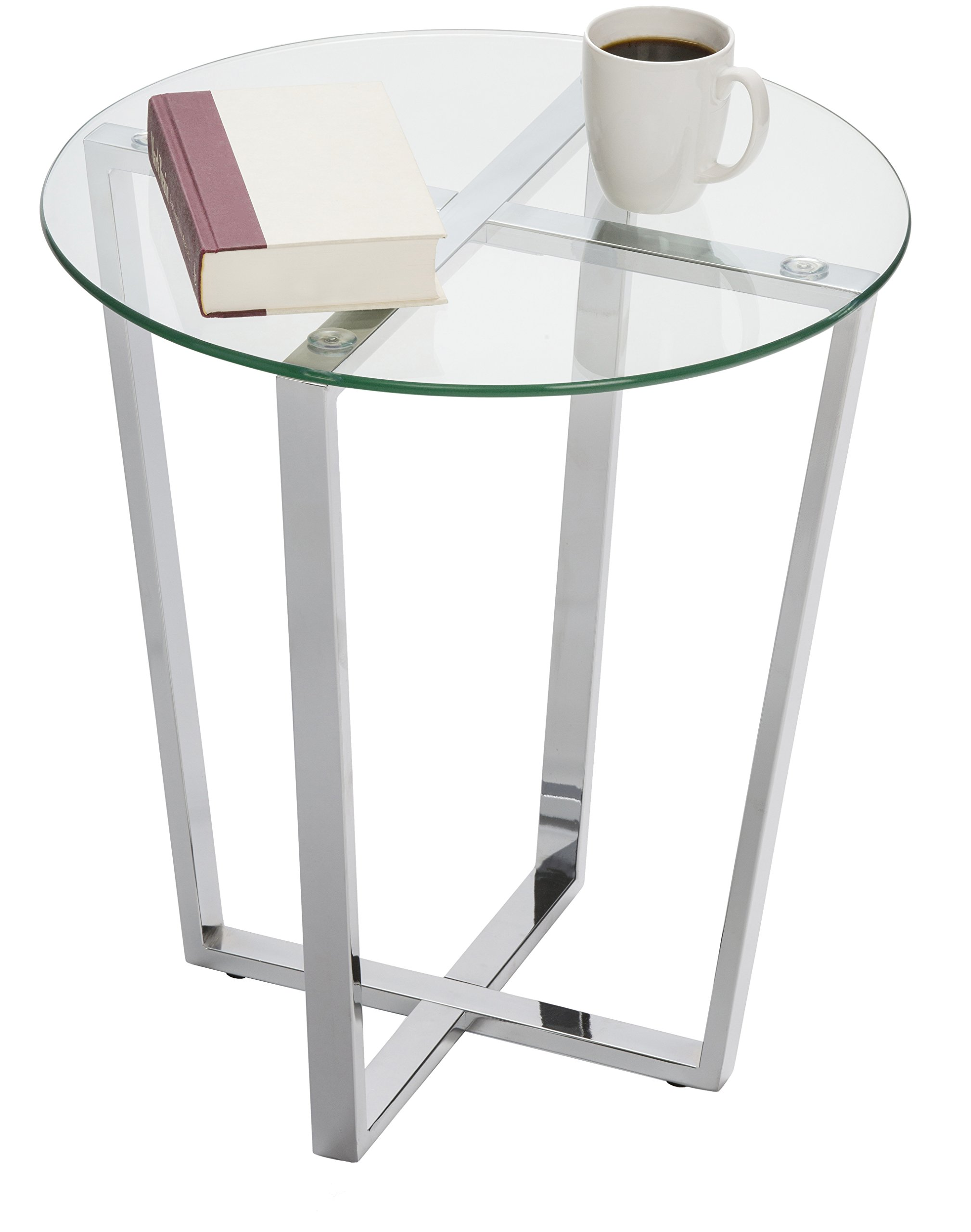 Mango Steam Metro Glass End Table - Clear Top/Chrome Base
