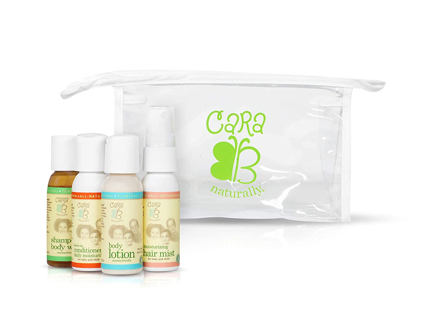 CARA B Naturally Travel Convenience Bundle w/TSA-Approved Travel Bag - Shampoo/Body Wash, Leave-in Conditioner/Daily Moisturizer, Moisturizing Hair Mist and Body Lotion – Pack of 4 at 1 Ounce Each