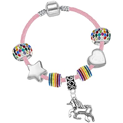 48f22546f Girl's 15cm Pink Leather Unicorn Charm Bracelet with Gift Box and Unicorn  Card