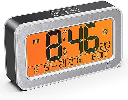 Blu PETSOLA Sveglia Digitale Ad Acqua Snooze AM//PM Data Temperatura umidit/à