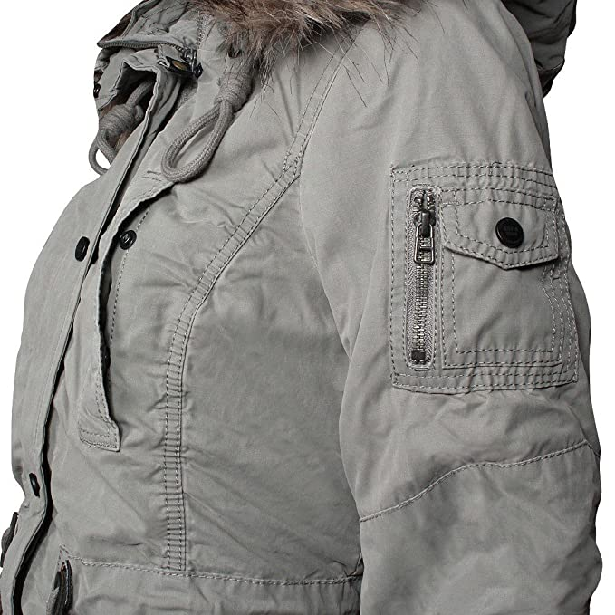 ee301eb9f854 Khujo Huyana Damen Winterjacke Mo- Mist (grau), Größe M  Amazon.de   Bekleidung