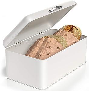 """Barnyard Designs Metal Bread Box, Vintage Farmhouse Bread Bin Container, Retro Bread Keeper, Storage Decor For Kitchen Counter, White, 13"""" x 7.5"""""""