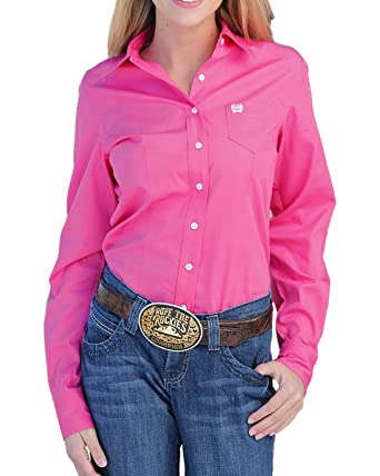 7ed553e8 Cinch Women's Solid Button Down Western Shirt Pink X-Small at Amazon  Women's Clothing store: