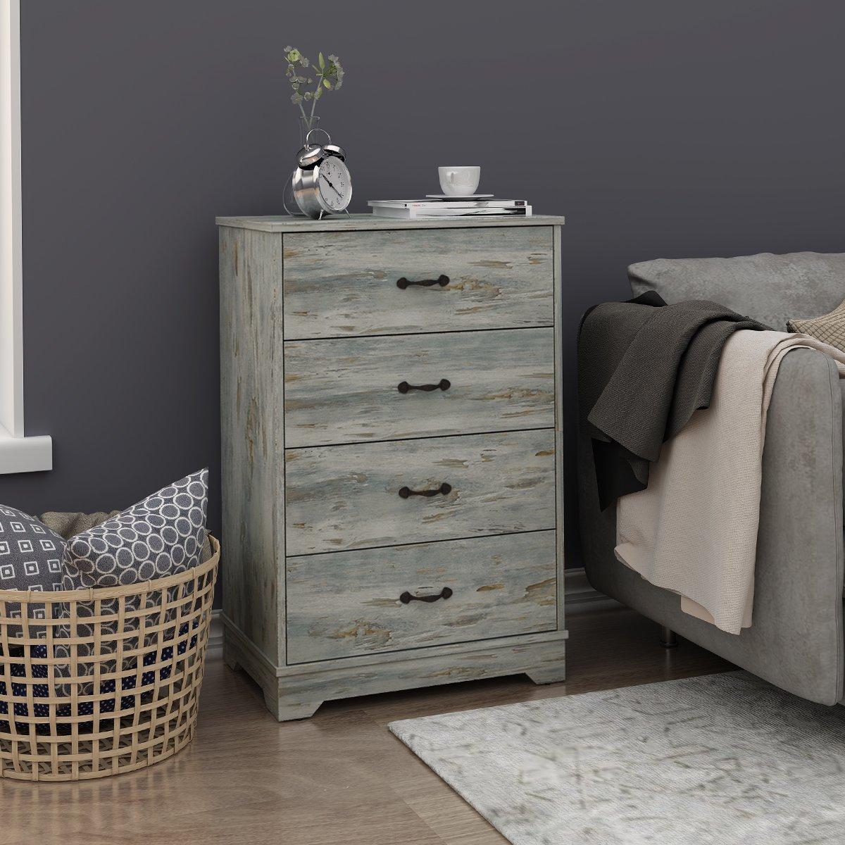 Modern 4 Drawer Wood Chest in Blue, Works as Dresser & Cabinet for Home & Office by DEVAISE