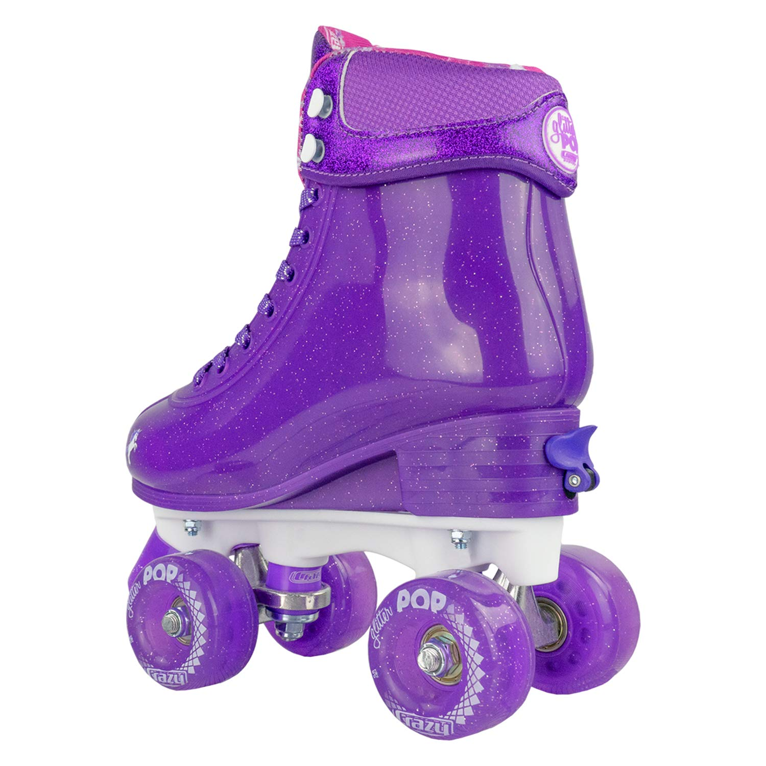 Crazy Skates Glitter POP Adjustable Roller Skates for Girls and Boys | Size Adjustable Quad Skates That Fit 4 Shoe Sizes | Purple (Sizes 3-6) by Crazy Skates (Image #7)