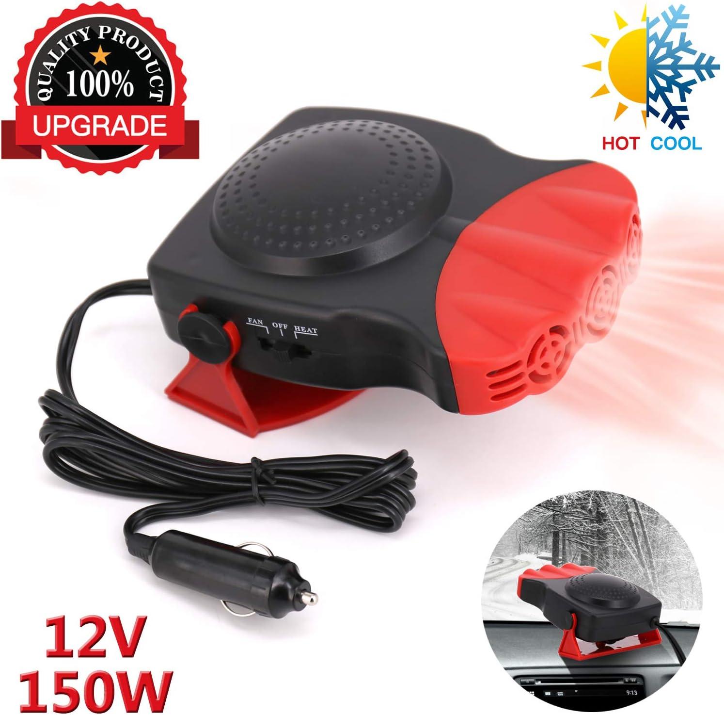 Car Heater Portable Fan Cooler Defrost Defogger Space Automobile Plug Adjustable Thermostat Fast Cooling Heating12V Red