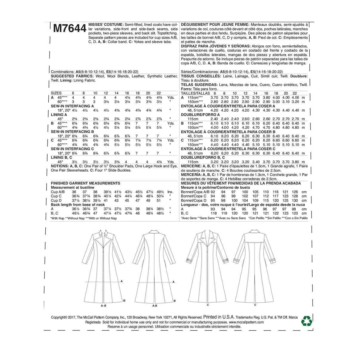 Amazon.com: McCalls Patterns M7644E50 Leather Jacket Cosplay Costume Sewing Pattern for Women by Yaya Han Sizes 14-22: Arts, Crafts & Sewing