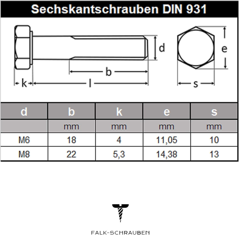 Sechskantschrauben M6 X 70 mit Schaft 50 St/ück Maschinenschraube Falk-Schrauben Teilgewinde DIN 931 Edelstahl A2 V2A
