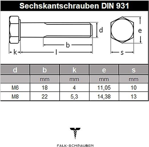 Maschinenschrauben mit Teilgewinde Gewindeschrauben 30 St/ück M8 x 150 mm Sechskantschrauben mit Schaft - DIN 931 rostfrei Eisenwaren2000 ISO 4014 Edelstahl A2 V2A
