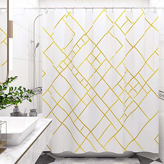 Desihom White Modern Shower Curtain 72x72 Inch Geometric Shower Curtain Gold Striped Shower Curtain Farmhouse Yellow Simple Neutral Polyester Waterproof Shower Curtain With 12 Hooks Set Kitchen Dining