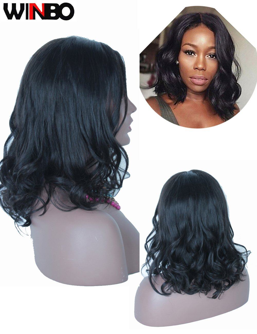 WINBO BOB Wavy Full Lace Front Wig 8A Brzilian Human Hair 150 Density 360 Lace Wig Baby Hair (12 INCH, 360 LACE WIG)