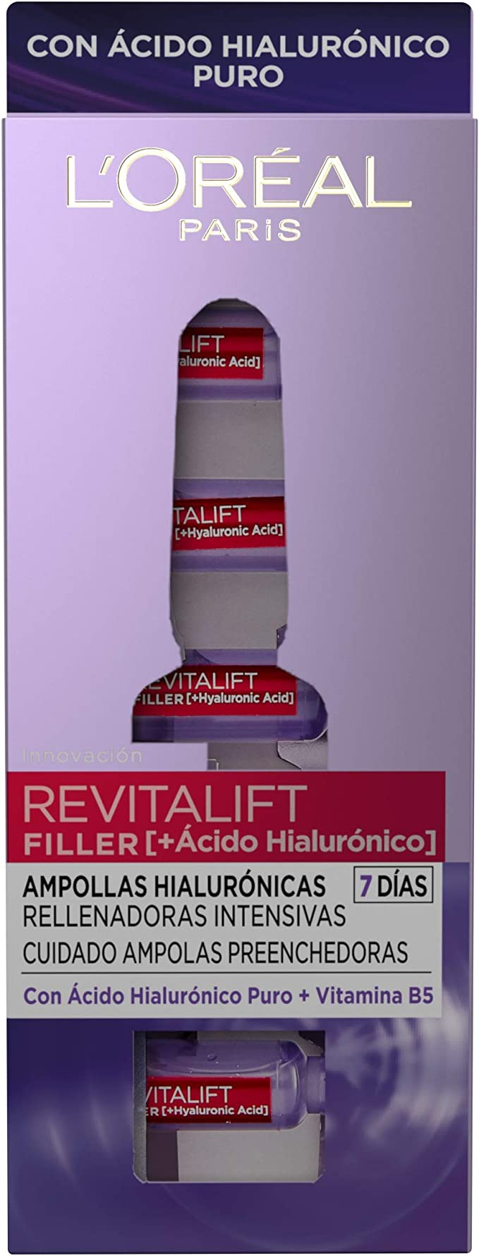 L Oréal Paris Revitalift Filler Ampollas Rellenadoras Para 7 Días Con ácido Hialurónico Puro 7 Unidades 1 3 Ml Amazon Es Belleza