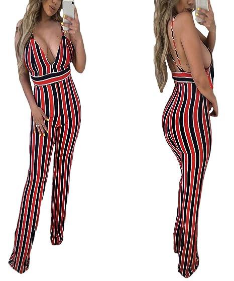 9d9b72bf57f3 One Persent Women s Sexy V Neck Spaghetti Strap Multicolor Stripe Jumpsuits  Rompers (US 4