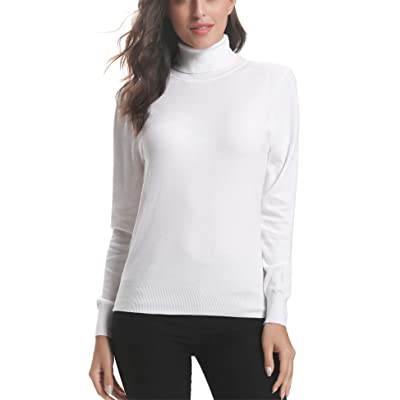 Abollria Women's Soft Stretch Mock Turtle Neck Pullover Knit Sweater at Amazon Women's Clothing store