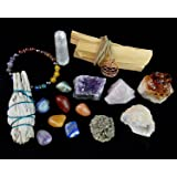 White Sage, Palo Santo Wood & Crystal Healing Kit (17Pc) ~ Smudge Stick, Palo Santo Sticks, Raw Crystals, Quartz Obelisk, 7 Chakra Stones, +Bracelet & Spiral Pendant Necklace w COA & Info Card