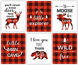 "Forest Animals Buffalo Plaid Wall Art ,Red and Black Woodland Art Print,Set Of 6 (8""X10"",Unframed) Inspirational Quote Canvas Poster ,Moose Deer decor For Boy Bedroom,Playroom"