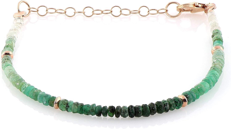 Pulsera de esmeralda con cadena de plata de ley y cierre de 3,5 mm, pulsera verde de esmeralda con piedra natal de mayo, pulsera de esmeralda auténtica, regalo para mamá o regalo de Navidad para ella
