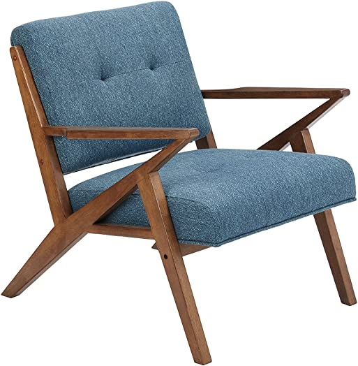 Rocket – Mid Century Modern Accent Lounge Arm Chair – Comfortable All Foam – Sturdy Solid Wood Frame Z Rocket Style – Tufted Upholstery – Blue – INK IVY