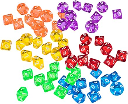 Dados Poliédricos Coloridos De 10 Lados Numerados Dados Accesorios De Juego De Mesa para Mazmorras Y Dragones, Paquete De 60: Amazon.es: Juguetes y juegos