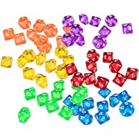 Prettyia 60 Pieces Acrylic Ten Dided D10 Dice for Dungeons & Dragons D&D TRPG Roleplaying Warhammer Party Board Game Favour Toys