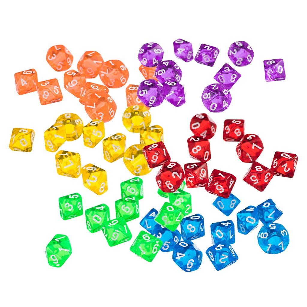 MonkeyJack Set of 60 Pieces Ten Sided D10(0-9) Dice Die for D&D Party Pub Bar Casino Poker Card Dice Guessing Game Accessories