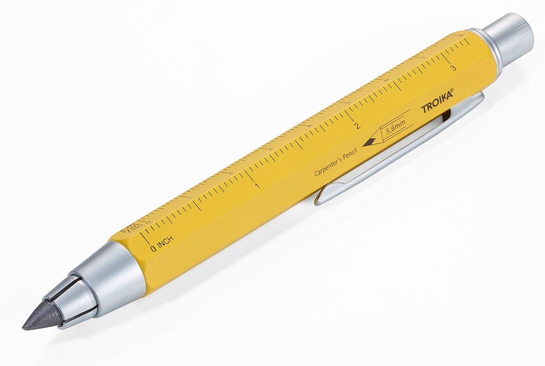 TROIKA ZIMMERMANN 5,6 – PEN56/YE – Lápiz de carpintero – lápiz portaminas (5,6 mm, mina HB) – regla de centímetros/pulgadas – escalas de 1:20 m/1:50 m – latón – lacado – amarillo &