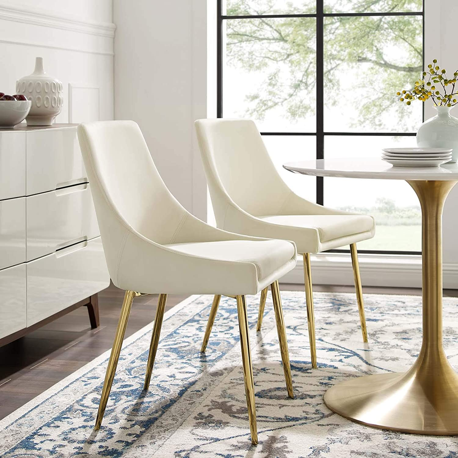 Amazon Com Modway Viscount Performance Velvet Dining Chairs Set Of 2 Gold Ivory Chairs