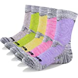 YUEDGE 5 Pairs Women's Cushion Crew Socks Outdoor Recreation Multi Performance Trekking Climbing Camping Hiking Walking Socks