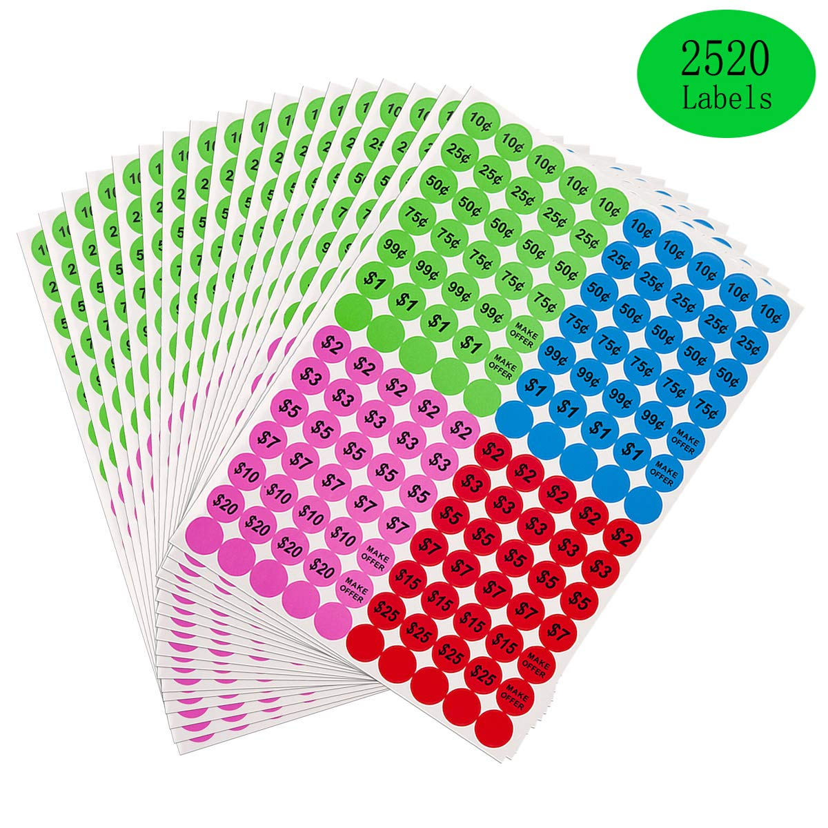 3//4 Round Preprinted Pricing Labels Price Stickers Anronal 2520 Count Garage Sale Pricing Stickers Removable Yard Sale Labels with Prices Green