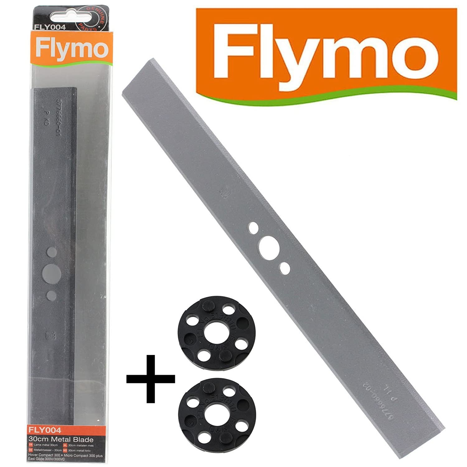 Genuine Flymo Micro Compact 300 Plus Lawnmower Blade & Spacers (30cm, FLY004 / FLY017)