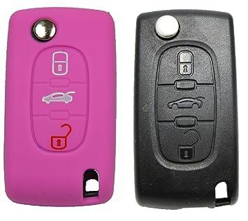 Peugeot Llavero de Coche 3 botones llavero Control Remoto de llaves, carcasa rosa/funda protectora, color rosa