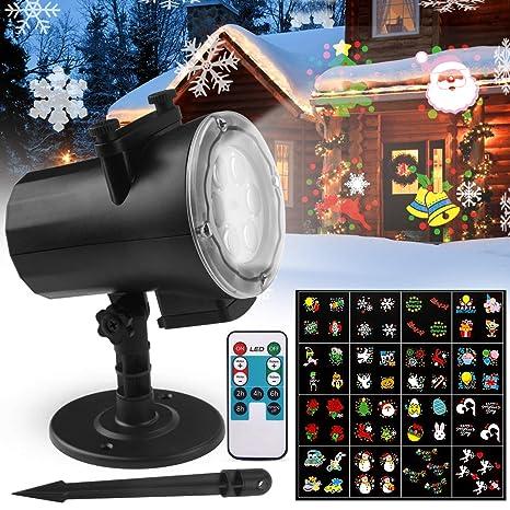 Proyector Navidad LED, FOCHEA IP65 Luces de Proyector Interior y Exterior con 16 Diapositivas Reemplazables y Control Remoto para Halloween, Navidad, ...