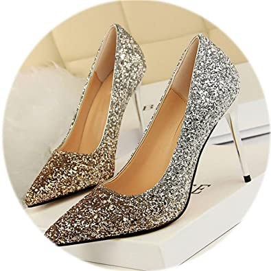 c63bd7fde1 AMAZING AMAZING Star Style Fashion Sequined Cloth Party Shoes 2019 New Show  Thin Women Pumps,