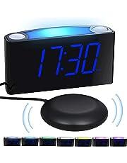 Réveil Vibrant, RéveilNumérique avec 7PoucesAffichageLED & LuminositéRéglable, 7VeilleusesColorées,Opération Simple, 2 Port USB,Snooze,Alarme Bruyante pour Gros Dormeurs, Sourds, Malentendants