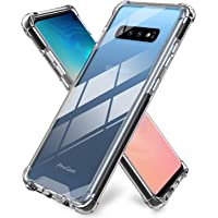 ProCase Galaxy S10 Case, Slim Hybrid Crystal Clear TPU Bumper Cushion Cover with Reinforced Corners, Transparent Scratch Resistant Rugged Cover Protective Case for Samsung Galaxy S10 2019 –Black Frame