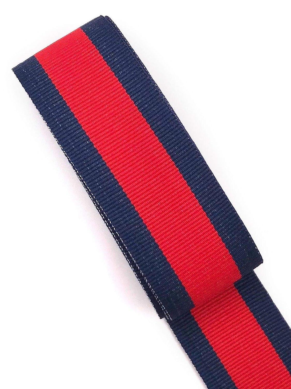 Slantastoffe Ripsband 2m Retro Dekoband Webband Hutband 30mm 3 Farben (Dunkelblau-rot-dunkelblau)