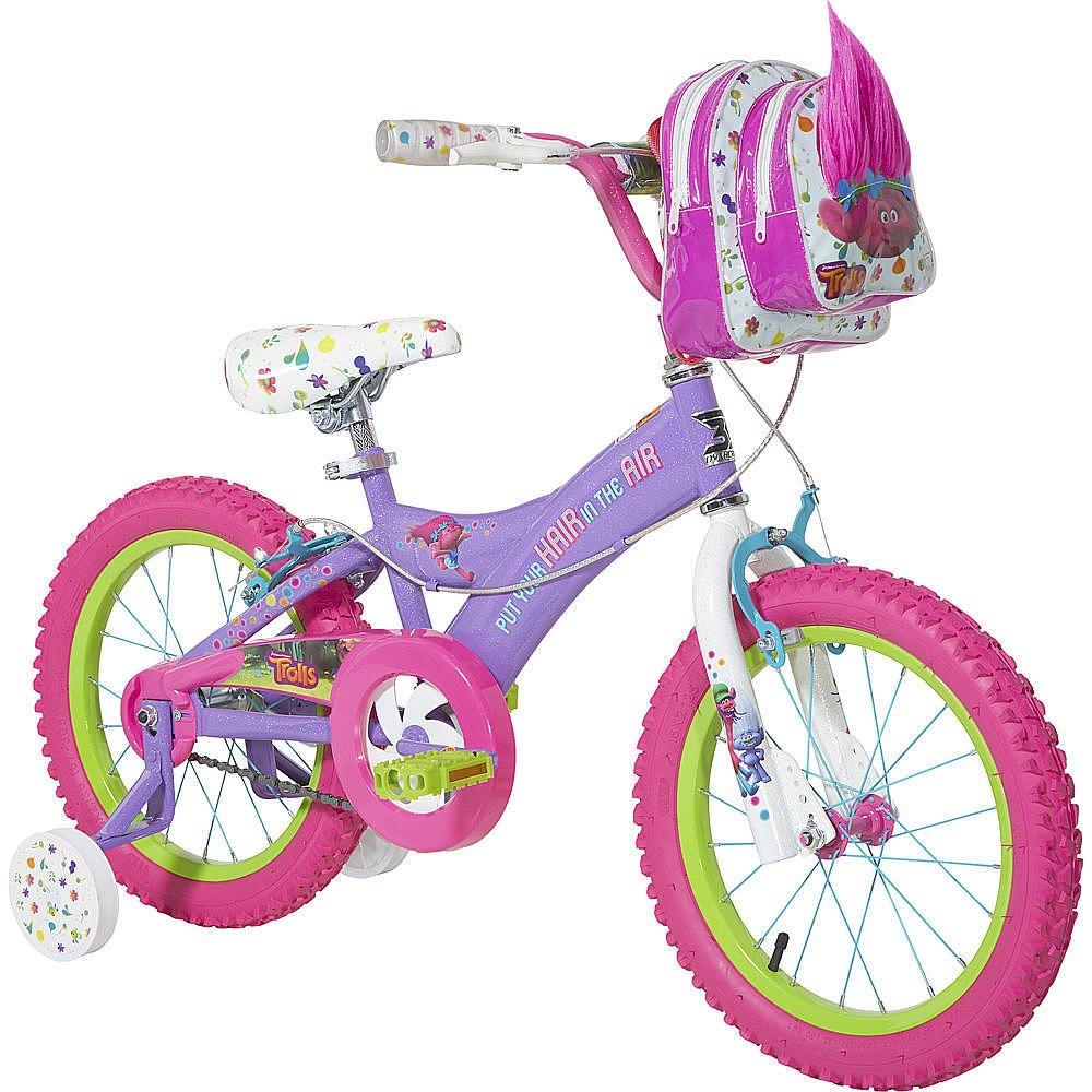16 inch Dynacraft DreamWorks Trolls Colorful Charming Girls Bike with Handlebar Bag and Removable Adjustable Training Wheels by Dynacraft (Image #1)