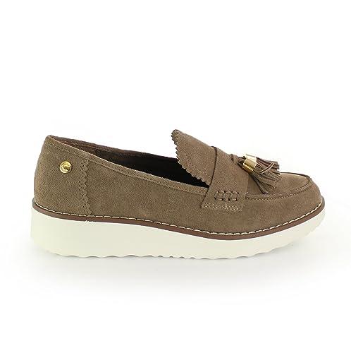 Carmela Zapato de Mujer Plano Mocasin Taupe: Amazon.es: Zapatos y complementos
