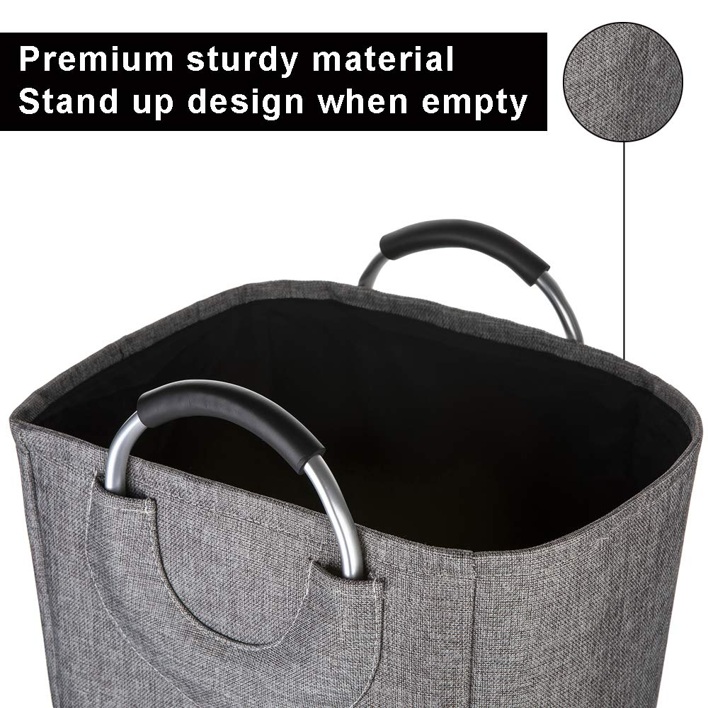 Cotton Fabric Foldable Luxxli Premium Laundry Basket with Metal Handles Bathrooms Grey Kids Room Childrens Toys Laundry Buckets for Bedrooms
